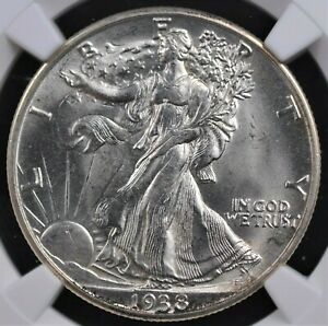 1938 D WALKING LIBERTY HALF NGC MS 64 SPARKLING WHITE MINT BLOOM OVER SCULPTED