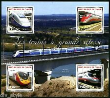 HIGH SPEED TRAINS MINI FEUILLE DE 4 Timbres MNH NIGER 2014