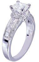 14K White Gold Princess Forever One Moissanite Diamond Engagement Ring 1.75ctw