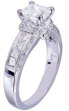 14K White Gold Princess Cut Moissanite And Diamond Engagement Ring Bridal 1.75ct