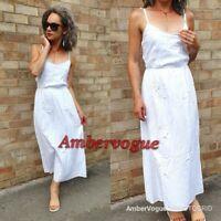Zara Midi Linen White Embroidred Floral Dress SIZE S 8