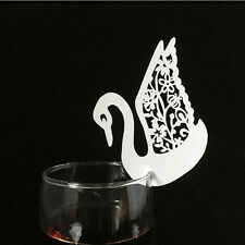 50pcs Luxury Wedding Name Place Cards for Wine Glass Laser Cut Pearlescent Card Swan