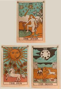 Tarot Flag Tapestry - The Sun, The Moon and The Star Boho Wall Hanging Pack of 3