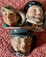 ROYAL DOULTON  MINI TOBY MUGS: POACHER, HENRYVIII, TONY WELLER  mint Condition