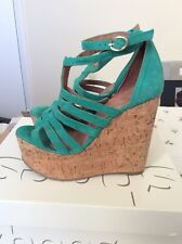 Topshop Green Cork Wedge Sandals Size 4/37