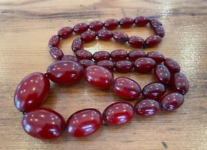 Antique Vintage Cherry Amber Bakelite Faturan Beads Necklace 40 grams