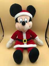 Vintage Applause Santa Mickey Mouse Disney Plush Soft Stuffed Toy Doll Christmas