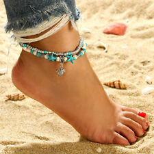 2 Layer Women Turquoise Beads Beach Ankle Foot Chain Anklet Barefoot Bracelets
