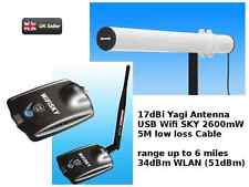 WiFi Outdoor 32dBm (50dBm) 2000mW Yagi Antenna 10M cable Booster USB 17dBi Melon