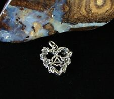 Sterling Silver Alcoholics Anonymous AA Floral Heart Symbol  Pendant Jewelry 984