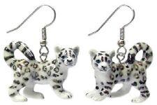 JE077 Snow Leopard Earrings - Surgical Steel Porcelain Dangle - little Critterz