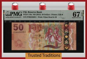 TT PK 118a ND (2013) FIJI 50 DOLLARS QUEEN ELIZABETH II PMG 67 EPQ SUPERB GEM!
