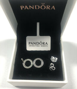 ALE S925 Genuine Silver Pandora Sparkling Circle Stud Earrings Gift With Box
