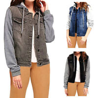 Women Denim Contrast Long Sleeve Jacket Pocket Ladies Jeans Vest Drawstring Hood