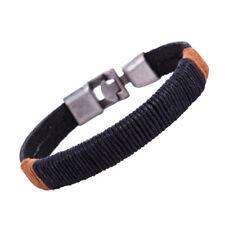 Surfer Men Vintage Rope Wrap Leather Wristband Bracelet Cuff Black Brown@tg Brown