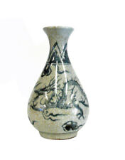 Chinese Handmade  Grey Crackle Dragon Ceramic Pottery Vase cs876-4