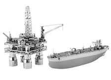 Fascinations Metal Earth Model Kits Offshore Oil Rig and Oil Tanker Gift Box Set