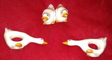 Vintage Set of 4 GEESE NAPKIN RINGS GOOSE Napkins Holder Holiday Country Ceramic