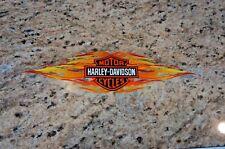 "Harley Davidson Retro Orange Flames Bar & Shield Window Decal Inside Vintage 12"""
