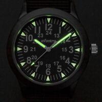 INFANTRY Mens Quartz Wrist Watch Luminous Military Army Sport Black Green Nylon