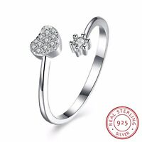 New 925 Sterling Silver Solid Love Heart Wedding Engagement Band Ring Adjustable