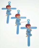 "12 BAPTISM BLUE 6"" CROSS BOY RECUERDOS DE BAUTIZO CRUZ BABY SHOWER PARTY FAVOR"