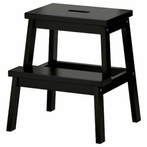 2 X IKEA Bekvam WOODEN STEP STOOL (Black- 50cm) SOLID WOOD HAND HOLE (Pack of 2)