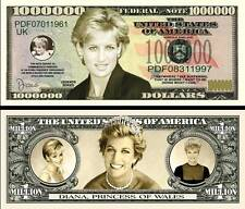 Princess Diana Million Dollar Bill Collectible Fake Funny Money Novelty Note