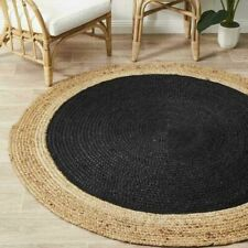 Jute Rug Round Handcrafted Area Decorative Black Floor Mats Carpet  2 X 2 Feet