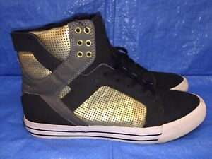 Supra Skytop High Top Muska 001 Black Gold Mens Size 10 US Skate Shoes