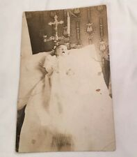 """Post Mortem Child Baby Post Card Mourning Vintage Photo 1800s 3.5"""" x 5.5"""""""
