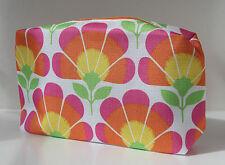 CLINIQUE LARGE PINK ORANGE & YELLOW FLOWER MAKE UP BAG