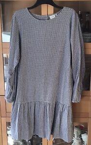 Ladies Junarose Size 22 BLk & W Gingham Drop Waist Button Back Cotton Dress  VGC