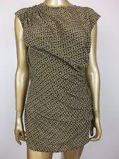 COUNTRY ROAD GEOMETRIC TOP TUNIC SHIRT BLOUSE DRESS 100% SILK - XS