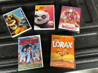 5 DVDs New Lorax Kung Fu Panda Madagascar Incredibles 2 Cloudy Meatballs Family