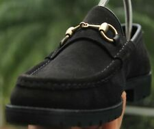 GUCCI  Men's Dark Grey  suede horse bit lug sole Loafers brand size 9.5 D