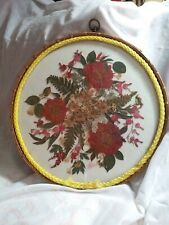 Vintage Pressed Dried Flowers In Large Circular Glass Frame Canada