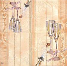 2 Serviettes en papier Champagne Decoupage Paper Napkins Celebration