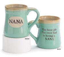 Nana Best Job Ever Porcelain Aqua Coffee Tea Mug Cup 18oz Gift Box