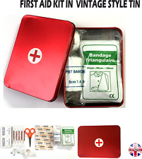 FIRST AID KIT IN  VINTAGE STYLE TIN WITH INCLUDES 30 ESSENTIAL MEDICAL ITEMS