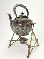 Antique Walker & Hall Sheffield Silver Plated Tea Kettle on Stand