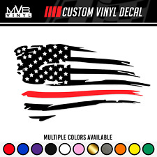 Firefighter Distressed American Flag Vinyl Decal Support Sticker Thin Red Line