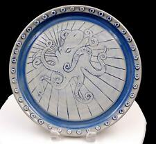 """RIA NICKERSON SIGNED GOOD THUNDER POTTERY BLUE & GRAY OCTOPUS 11"""" CABINET PLATE"""