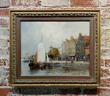 Old Amsterdam with Boats - 19th century Dutch Impressionist oil painting