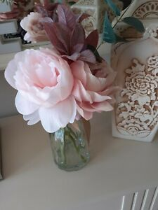 new with tag artificial flowers in glass jar/vase