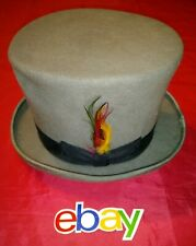 Jaxon MAGICIAN VICTORIAN Top Hat 100% wool GRAY SZ 7 feather and bowtie design