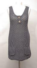 P456/14 White Stuff Grey Long Length Chunky Knit Cotton Jumper Dress, size 8