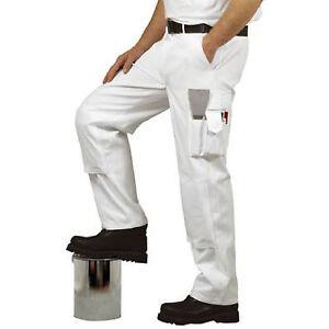 White Painters Trousers Decorators 100% Cotton Multi Pocket Knee Pockets S817