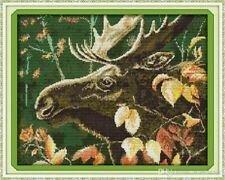 "New ListingJoy Sunday Counted Cross Stitch Kit ""Moose"" Nip"