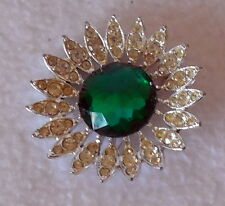 Rhinestone silver tone Brooch Pin Sarah Coventry green clear floral